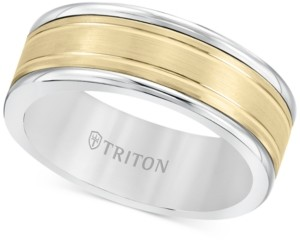 Triton Men's Two-Tone Inlay Band in White Tungsten Carbide & 14k Gold