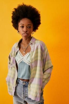 Urban Outfitters Kaden Raw Edge Check Shirt - Green XS at