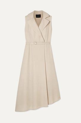 Akris Belted Wrap-effect Wool-crepe Midi Dress - Beige