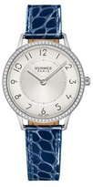 Hermes Slim d'Hermès GM Watch with Diamonds & Blue Alligator Strap