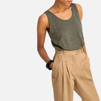 La Redoute Collections Linen Vest Top with Round Neck