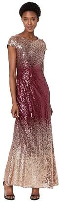 Alex Evenings Long A-Line Ombre Sequin Dress (Rose Gold/Wine) Women's Dress