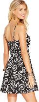 Monroe Marilyn Juniors Dress, Spaghetti-Strap Printed Sweetheart