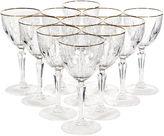 One Kings Lane Vintage Gilt-Rimmed Glass Wine Stems, S/11