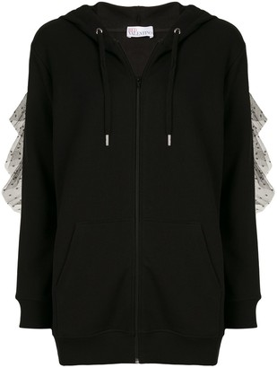 RED Valentino Point D'esprit Zipped Hooded Jacket