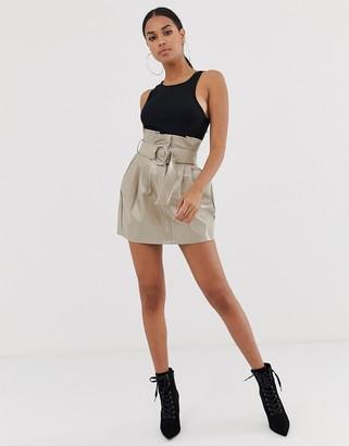 4th + Reckless paperbag PU buckle skirt in mocha-Beige