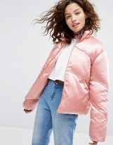 House of Holland Cropped Padded Jacket In Satin