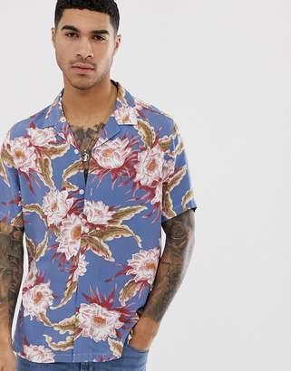 Asos Design DESIGN regular fit hawaiian floral shirt in dusty blue