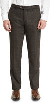 Etro Plaid Wool-Blend Flat-Front Trousers, Gray Multi