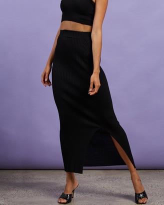 Dazie - Women's Black Midi Skirts - Hey Girl Midi Split Skirt - Size S at The Iconic