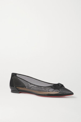 Christian Louboutin Follies Bow-detailed Mesh And Patent-leather Point-toe Flats - Black