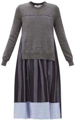 Comme des Garçons Comme des Garçons Layered Wool And Cotton-gingham Dress - Grey Multi
