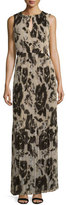 St. John Floral Pleated Sleeveless Maxi Dress, Alabaster/Multi