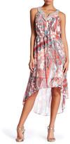 Sandra Darren Embellished Split Neck Hi-Lo Dress (Petite)