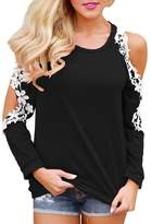 Sumen Women Off Shoulder Lace Long Sleeve Blouse Casual T-Shirt Pullover (S, )