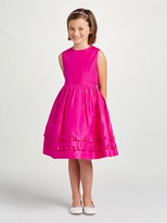 Oscar de la Renta Taffeta Multi Ruffle Dress