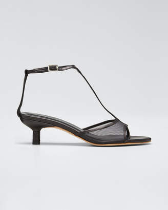 BY FAR Leather and Mesh T-Strap Sandals