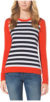 Michael Kors Striped Grommet-Embellished Sweater Plus Size