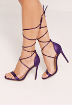 Missguided Satin Lace Up Barely There Heeled Sandals Purple