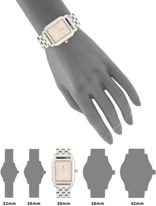 Michele Diamond Marker Stainless Steel Bracelet Watch