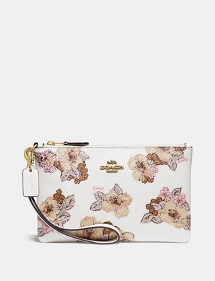 Coach Small Wristlet With Floral Bouquet Print