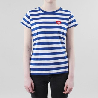 Black Pug - Blue Red Girls Striped Heart Tee - Small - Blue/White/Red