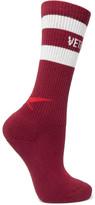 Vetements + Reebok Intarsia Cotton-blend Socks - Claret