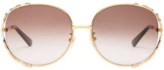 Gucci Round Enamel And Metal Sunglasses - Womens - Purple