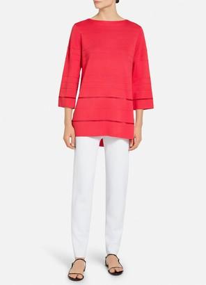 St. John Ottoman Stripe Knit Hi Lo Sweater