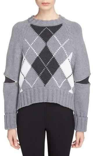Alexander McQueen Zip Sleeve Wool Argyle Sweater