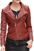 Helan Apparel Helan Women's Removable Collar Motorcycle Sports PU Leather Short Jacket US