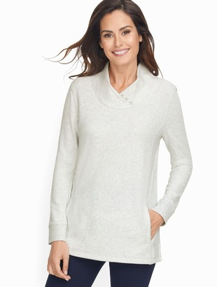 Talbots Heathered Fleece Mockneck Pullover