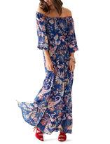 Bisou Bisou Long-Sleeve Floral Maxi Dress