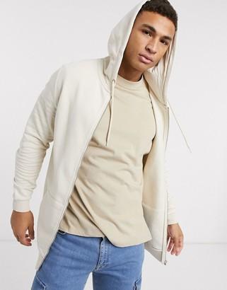 ASOS DESIGN longline zip up hoodie in beige