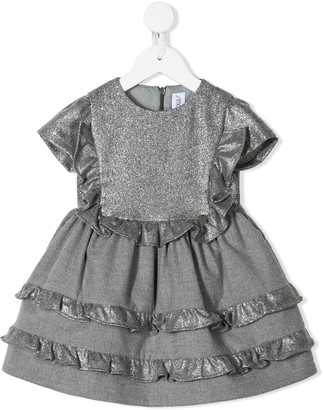 Simonetta Glitter Panel Ruffled Dress