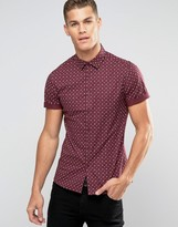 Asos Skinny Shirt In Burgundy With Paisley Print And Short Sleeves