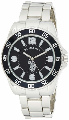 U.S. Polo Assn. Men's Silver-Toned Watch with a Black Dial Automatic Quartz Metal/Alloy Fold-Over-Clasp Watch - USC80515