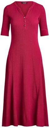 Lauren Ralph Lauren Waffle Knit Fit-and-Flare Dress (Bright Fuchsia) Women's Dress