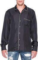 Dolce & Gabbana Dot-Print Long-Sleeve Pajama Shirt, Navy