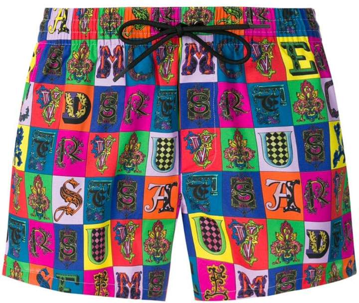 Versace alphabet print swim shorts
