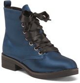 Sateen Ribbon Lace Up Fashion Boots