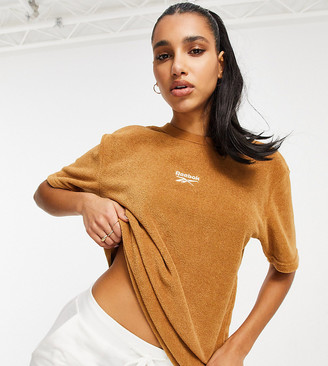 Reebok Classics Toast co-ord t-shirt in tan terry towelling Exclusive to ASOS