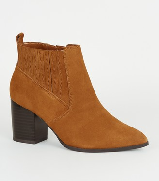 New Look Wide Fit Suede Pointed Block Heel Boots