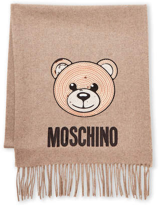Moschino Wool Sequin Bear Logo Scarf