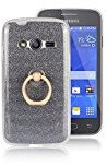 Moonmini Samsung Galaxy Ace 4 LTE G313. Case Cover Sparkling Slim Fit Soft TPU Back Case Cover with Ring Grip Stand Holder 2 in 1 Hybrid Glitter Bling Bling TPU phone Case Cover (Black)
