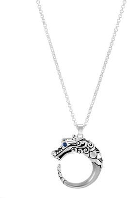 John Hardy Legends Naga Silver Brushed Dragon Pendant Necklace