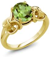 Gem Stone King 1.35 Ct Oval Peridot 14k Yellow Gold Ring