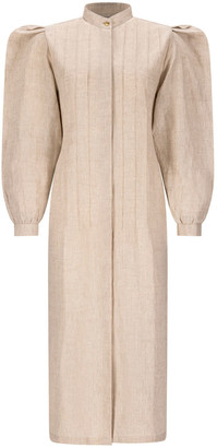Asneh Beige Rose Linen Shirt Dress With Puff Sleeves