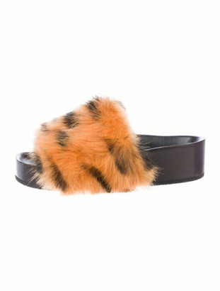 Celine Shearling Animal Print Slides Orange
