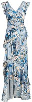 Theia Printed V-Neck Ruffle Gown